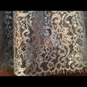 Anthropologie HD in Paris metallic lace skirt